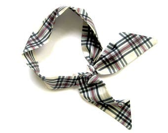 Plaid Scarf, Mini Skinny Scarf, Neck Scarf, Purse Scarf, Hair Scarf, Ponytail Scarf, Gift for Her, Under 15 Dollars, Ready to Ship
