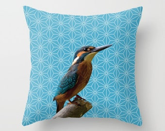 5 colours, Norse Blue, Kingfisher Photo Pattern Montage, Polygon Pattern, Birds, Nature pillow, Faux Down Insert, Indoor or Outdoor cover
