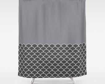 4 colour options, Sea Waves Pattern Shower Curtain, Nautical shower curtain, Charcoal, Grey, Sharkskin grey, Nordic decor, Maritime decor