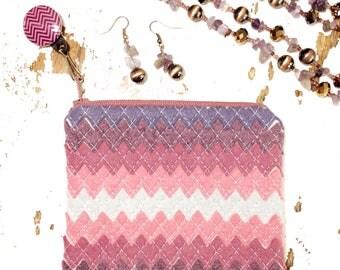 Small Jewelry Case Travel Jewelry Case Cosmetic Case Jewelry Organizer Travel Accessories Jewelry Clutch Travel Organizer Purple Chevron Bag