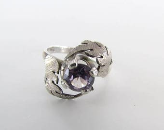 SALE Sterling Silver and Amethyst Botanical Ring Size 6 - Vintage  925 Leaf Jewelry