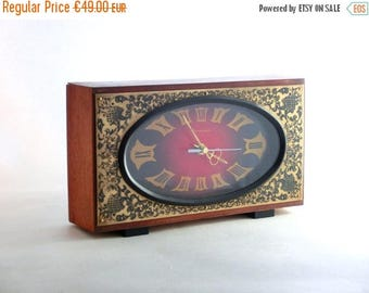SALE 20% off Vintage Wooden Clock from Russia, Soviet Clock, Retro clock, From 80s, Unique Golden Ornament