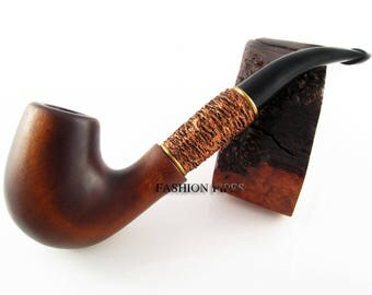 Wooden pipe Tobacco Pipe/Pipes Smoking Pipe / Pipes. Hand Carved Bent in Brass. EXCLUSIVE Unique WOOD PIPE Limited edition