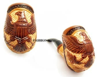 "Wooden Tobacco Smoking Pipe ""AMERICAN EAGLE"" Carving Handmade. Exclusive Design and Pouch GiFt...Best Offer..."