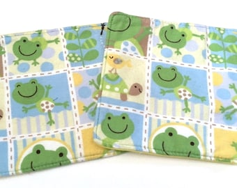 SALE CLEARANCE, Birthday Gift, Baby Washcloths Set, Baby Shower Gift, Baby Boy Nursery, Frog Gifts, Froggy Stuff, New Baby Gift, Frog Fabric