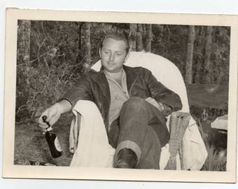 Man Drinking Beer In The Woods Vintage Photo Camping With Alcohol Mid Century Modern Photograph Menswear Fashion Family Pictures