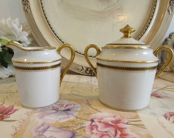 Antique, vintage French cream jug,  creamer and sugar pot . Lazeyras Limoges porcelain.  Paris apartment, cottage chic