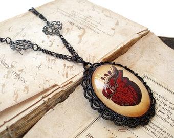 Anatomical Heart Statement Necklace in Black Enamel - Bridal Necklace - Goth Wedding