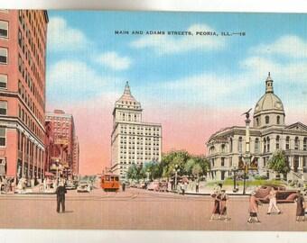 Linen Postcard, Peoria, Illinois, Main and Adams Street, ca 1940