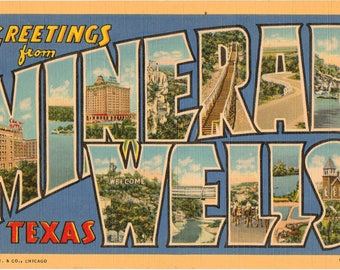 Linen Postcard, Greetings from Mineral Wells, Texas, Large Letter, 1943