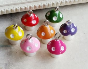 14 x 13 mm Resin Mushroom Charms of Assorted Colors (.ag)