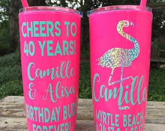 Personalized Birthday Party Cups / Cheers to 35 Years / Bachelorette Tumbler with lid & straw / Bridesmaids / Girls Weekend / Beach