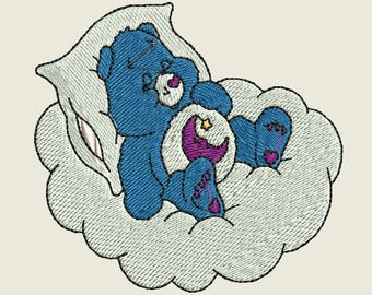 Iron On Patch - Embroidered  Sleeping Bear on Cloud
