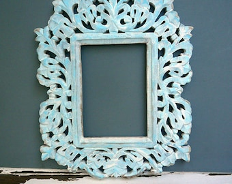 Ornate Filigree Painted Frame Wall Hanging Shabby Cottage Chic White and Aqua Tones Wooden Frame, Lotus Flower Filigree Frame, Ready to Ship