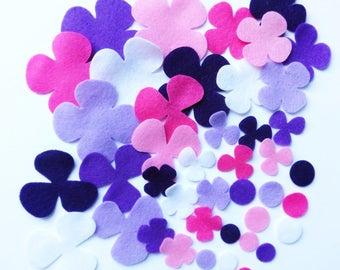 Felt Flower, Felt Shape HELICES 3, 42 pieces, Die Cut Shapes, Applique, Confetti, pre cut felt, delt supplies for crafts, felt, cut out felt