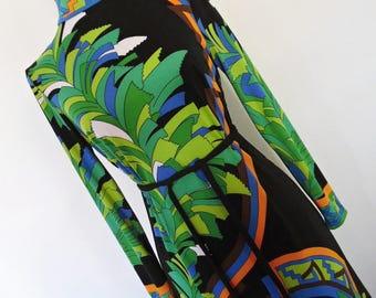 SALE :)) PSYCHEDELIC RAINBOW . Sensational Graphics Op Art Print Midi Dress Fab Colors 70s  M