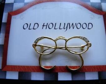 Rhinestone Eyeglass pin, Brooch.