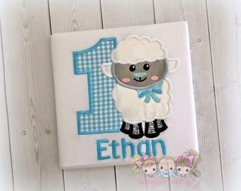 Boys lamb birthday shirt - sheep birthday shirt - Easter birthday shirt - blue gingham with lamb - 1st Easter personalized shirt for boys