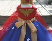 Girls Super Hero Costume , Super Hero Tutu Dress, Halloween Costume, Super Hero crown, Super Hero Birthday Dress, Toddler Super Hero Dress