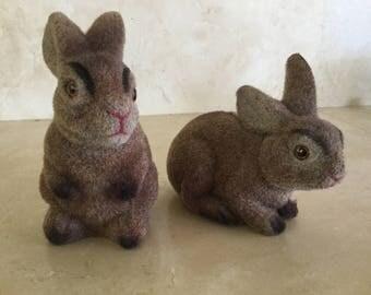 Vintage Flocked Easter Bunny Banks / Easter Basket / Easter Decoration