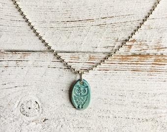 Ceramc Owl Pendant, Caribbean Blue, Unique Gift, Woodland, Owls, Ceramics, Owl Jewelry, Fall, Ceramic Jewelry