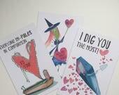 Creepy Valentines set of three cards
