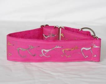 """2"""" Martingale Dog Collar Doodle Greyhounds - Pink"""
