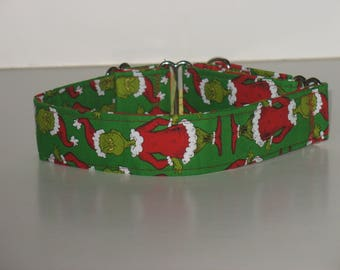 "1.5""  Martingale Dog Collar with The Grinch"