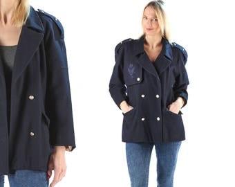 Military Style Short Wool Coat Vintage Nautical Coat 80s Wool Jacket Navy Blue Black Mini Coat Epaulette Retro 80s Coat Outerwear . Large