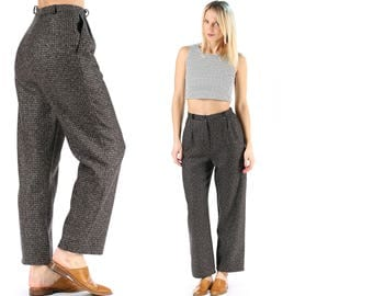 Straight Leg Wool Pants Vintage Brown Grey Pants High Waist Women 80s Trousers Minimalist Elegant Pants Wide Leg Manly Trousers . Medium
