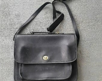 90s Large Leather Messenger Bag Purse