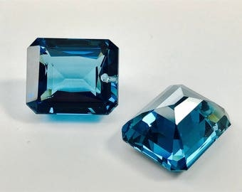 FINAL sale one pair london blue topaz drilled top 15x18 mm