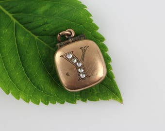 Antique Victorian Locket Fob Initial Y with Paste Stone Setting - Monogram Double Photo Locket Watch Fob