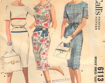 50% OFF 1960s McCall's Dress Pattern No. 6113, Size 14, Bust 34 // Vintage Misses' Dress Sewing Pattern // Easy Sew Slim Dress, Optional Dra