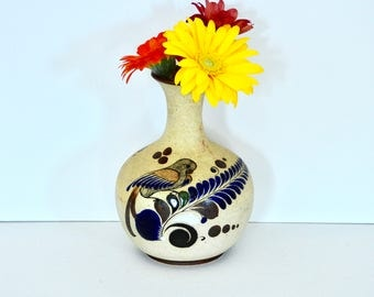 Mexican Pottery Bird and Butterfly Round Bottom Vase