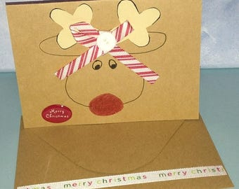 Reindeer Card Christmas Card Hand Drawn Handmade