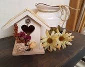 Sweet Shabby Chic Birdhouse with Floral Trim