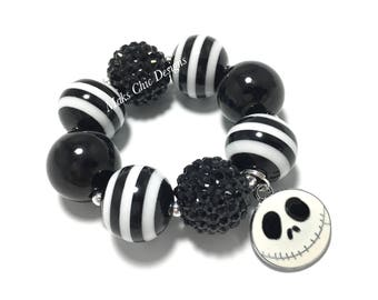 Toddler or Girls Skeleton Charm Chunky Bracelet - Halloween Chunky Bracelet - Skull Bracelet - Black and White Bracelet - Nightmare bracelet