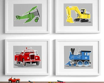 children's transportation vehicle wall art on grey, set of four prints, airplane fire truck train art - art for boys, boys nursery art