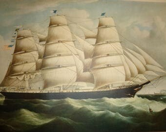 Vintage Nautical Lithographic Print of a Large Ship in Full Sail on an ocean of whitecaps with an international message in the flying flags