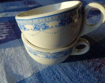 2 Vintage Diner Dinner Dishes Cups,  Coffee or Tea Cups with a beautiful blue design on a white glazed ceramic background, SHENANGO CHINA