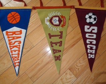 Vintage Hand Sewn Sports Bunting with Pennants for Soccer, Basketball, Football and Baseball and A Varsity Team one too,  All sewn together