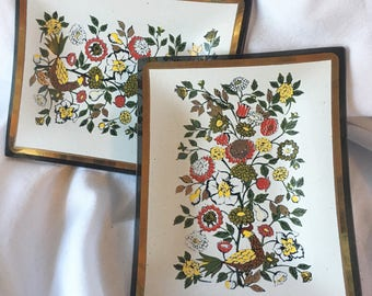 Vintage Glass Holder Plate Pair Gilt Floral Set of Two 2