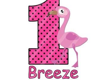 Pink Flamingo Birthday Number Printable Digital Download Image for iron-ons, heat transfer, DIY YOU PRINT