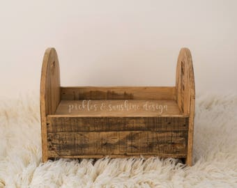 Recycled wood Toddler bed Sitter or newborn bed Photography prop, Primitive natural wood look, photo prop bed