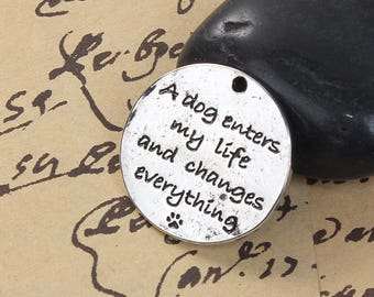 5 Pet Memorial Charms - Antique Silver - A Dog Enters My Life and Changes Everything - 25mm - Ships IMMEDIATELY from California - SC1361