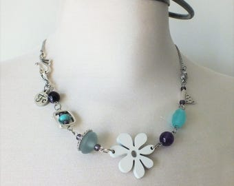 multiway jewelry,2 in 1,necklace,bracelet,summer,flower,wood,quartz,stainless steel,purple,blue,white,original jewelry