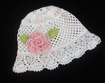 Crochet Flower Panama Hat, Crochet Girls Cloche Panama Hat, Toddler Girls Sun Hat, Girls Summer Brim Hat, White Panama Hat with flower