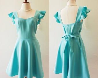 OLIVIA - Pastel Blue Dress Ruffle Sleeve Dress - Back Zipper - Vintage Bridesmaid Dress Cocktail Blue Short Party Dress Tea Dress
