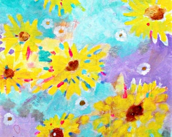 "Vibrant Abstract Floral Painting Sunflowers in Acrylic ""Shine On"" 20x24"""